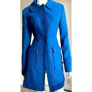 Tulle Blue Wool Blend Coat Large NWOT